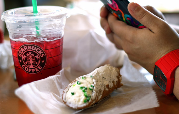 iPhone, cannoli and Starbucks