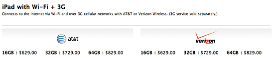 iPad 2 Wi-Fi + 3G pricing