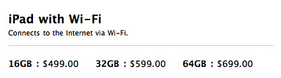 iPad 2 Wi-Fi pricing